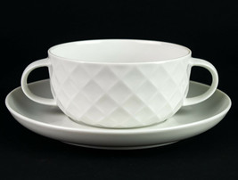 Thomas Holiday Bouillon Cup & Saucer Set, Vintage Germany All White Diam... - $14.70