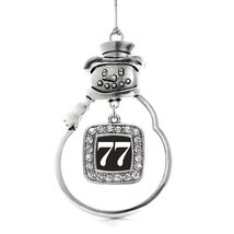 Inspired Silver Number 77 Classic Snowman Holiday Decoration Christmas Tree Orna - $14.69