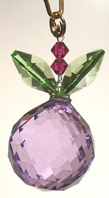 J'Leen Violet Ball with Light Peridot Leaves Crystal Berry Ornament