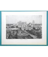 INDIA Pagoda at Seringham - 1877 Wood Engraving Illustration - $8.09