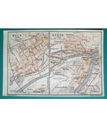 AUSTRIA Wels & Steyr City Plan - 1931 BAEDEKER MAP - $9.00