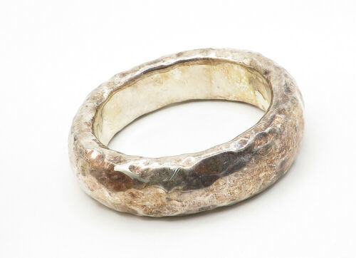 BAT-AMI ISRAEL 925 Silver - Vintage Hollow Hammered Bangle Bracelet - B6277 image 3