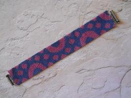 "Bracelet: Pink & Blue ""Circles & Dots"", Peyote Stitch, Tube Clasp - $39.00"