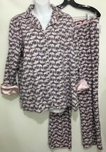 Ellen Tracy Womens M Pink Elephants Gray Cotton Flannel Pajamas Set Top ... - $43.61