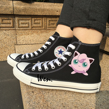 Black Canvas Sneakers Converse All Star Design Pokemon Jigglypuff Anime ... - $99.00