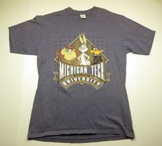 1993 NCAA Michigan Tech University Looney Tunes Grey Graphic Shirt Adult Size L - $23.72