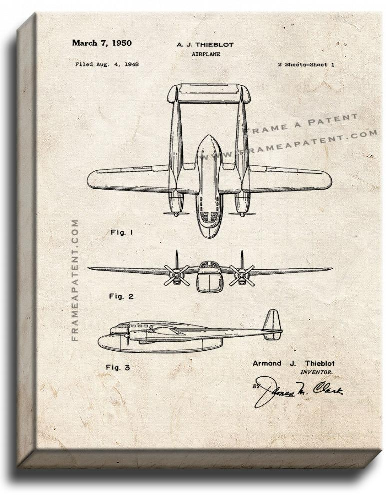 Primary image for Airplane Patent Print Old Look on Canvas