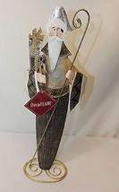 Santa Claus Gold Black Metal Tabletop Mantel Figurine Christmas In July - $557,21 MXN