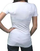 In Gods Hands Womens White Maslo Blessed Deep V-Neck T-Shirt NWT image 3