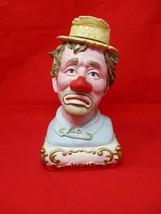 Vintage 1980 Ezra Brooks Sad Clown Porcelain Decanter Empty Liquor Bottle - $52.46