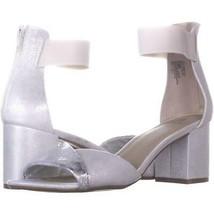 White Mountain Evie Criss Crossed Ankle Strap Sandals 132, Silver/Fabric... - $23.99
