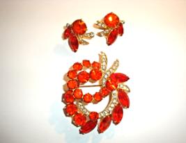 Signed Eisenberg Ice Flaming Orange Brooch & Earrings Vintage - €70,79 EUR