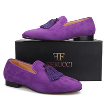 Handmade Men FERUCCI Purple suede with Big Purple Tassel Slippers loafers Flat - $169.99