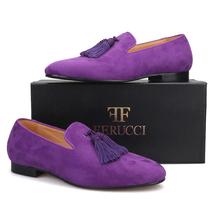 Handmade Men FERUCCI Purple suede with Big Purple Tassel Slippers loafer... - $169.99