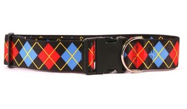 """2"""" Wide Red Argyle Dog Collar Adjustable Durable poly/cotton Made in the... - $22.19+"""