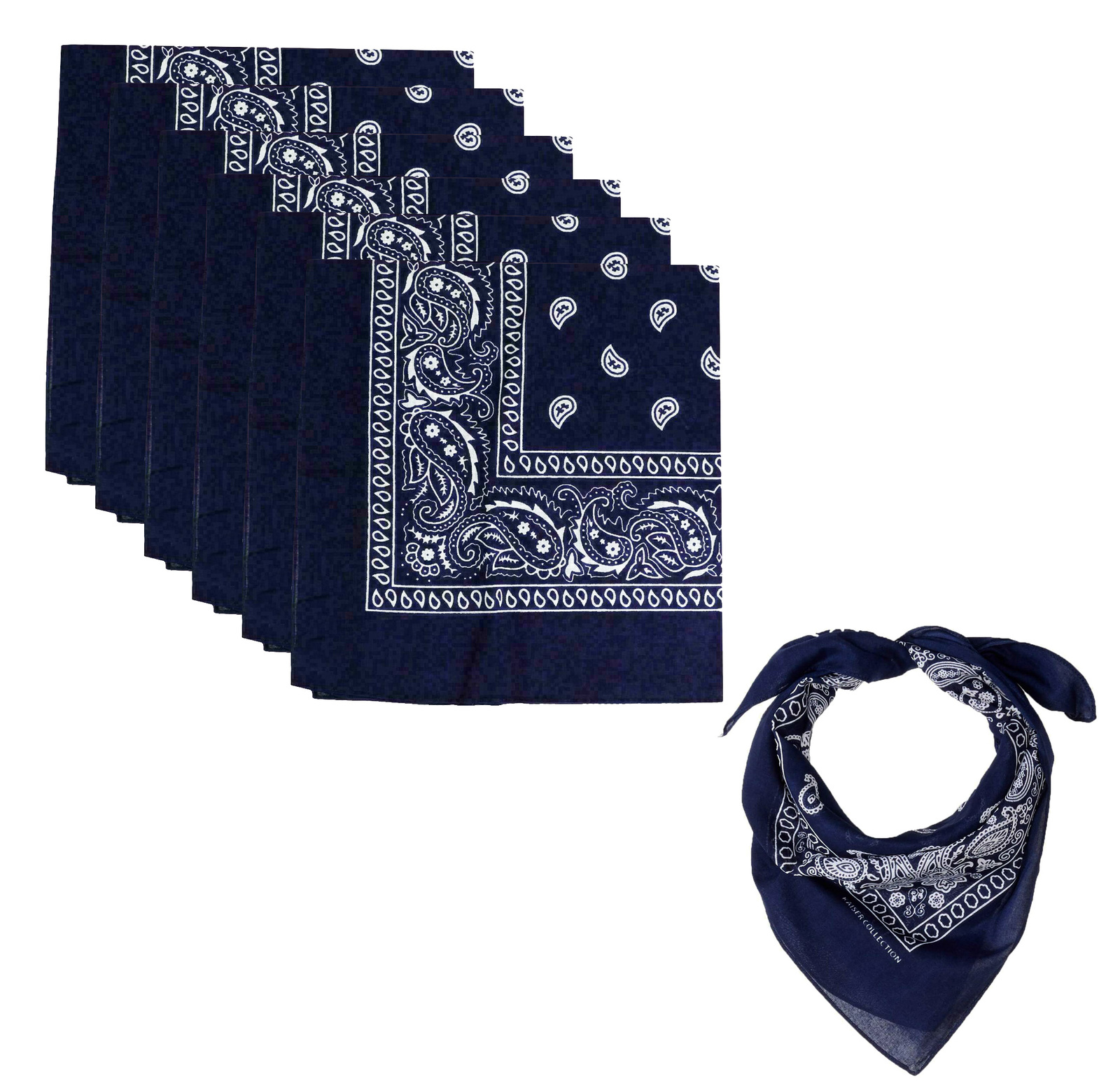 "6 Pack Paisley Cotton Head Wrap Western Scarf Face Cover Bandana Navy 22"" X 22"""