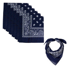 "6 Pack Paisley Cotton Head Wrap Western Scarf Face Cover Bandana Navy 22"" X 22"" image 1"