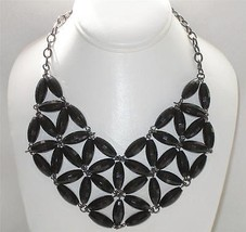 Fashion Choker Necklace Glossy Faceted Black Bead Design - $9.89