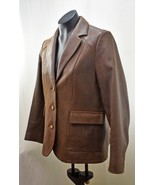 The Territory Ahead Brown Distressed Leather Fully Lined Blazer Women's ... - $94.95