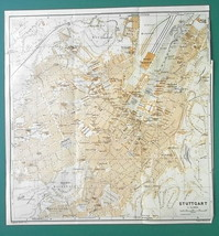"1925 BAEDEKER MAP - STUTTGART City Plan Germany 10.5 x 11"" (26 x 27 cm) - $14.40"