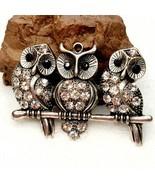 K22 Owls On A Branch Pendant Charm Bale AB Rhinestones Silver Tone - $8.91