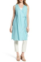 Eileen Fisher V-Neck Long Wrap Front Vest Tunic GREEN size L $238 #C1525 - $73.36