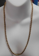 "Vintage Signed Monet Heavy Gold-tone Twisted Chain Necklace 24"" - $22.76"