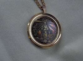 Vintage Gold Brass Pendant The Christ,Designer, Signed Ekinov RARE - $65.00