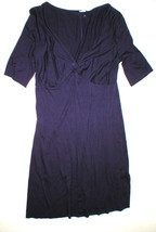 New Three Dots Dark Purple L Womens Dress Viscose Short Sleeve V Neck USA - $55.20