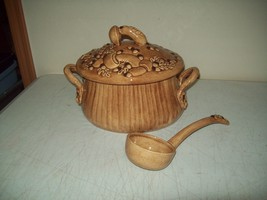 Vintage Soup Tureen Mushroom decor pottery Stamped H M copyright with ladle - ₨500.29 INR