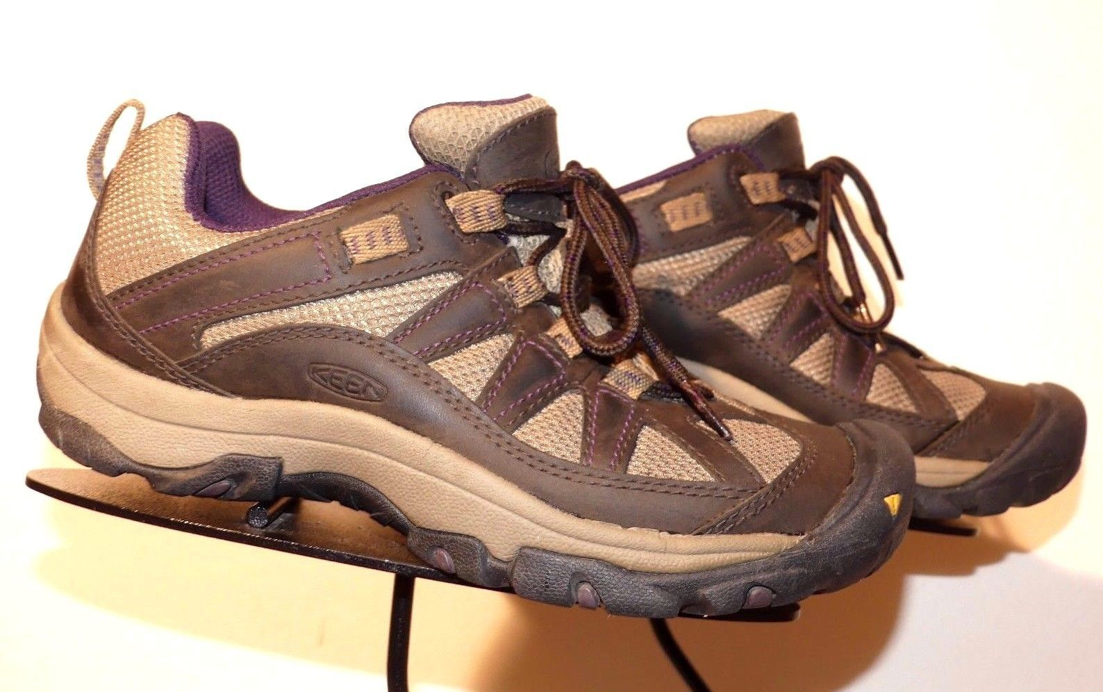 KEEN Brown Oiled Leather/Mesh Light Trail Sport Oxford Sz. 37.5/7 EXCELLENT! - $35.26