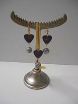 """Signed Laurel Burch Set~""""LOVE"""" Purple Hearts~GP Necklace+Hook Pierced Earrings - $45.00"""