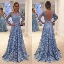 Lace Long Sleeves A-line Formal Party Cocktail Evening Long Prom Dresses Online - $219.00