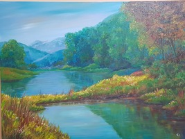 Original painting, acrylic paint on canvas, forest mountain with clear w... - $519.00