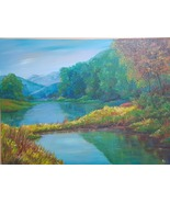Original painting, acrylic paint on canvas, forest mountain with clear water - $519.00