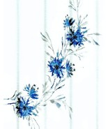 Tahari Martina Blue and Gray Floral on White Showewr Curtain - $38.00