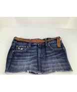 Abercrombe Kids 14 Skirt Mini Denim Blue Belt Whiskered Distressed Raw Hem - $12.19