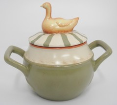 Nikko Country Market Soup Server Bowl w Lid Goose Handled Covered Pot Green Tan - $9.89