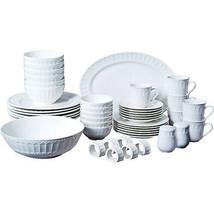 Set Dinnerware 46 Pcs Dishes Plate Mug Classic Vintage Modern White Service - $77.70