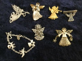 Lot 7 Christmas Angel Pins Brooches - Kc, Lc (Liz Claiborne), Gerry's, & Others - $19.75