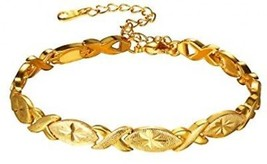 U7 Lady Solid Bangle 18K Gold Plated Flower Pattern Oval Waterdrop And Infinity - $27.89