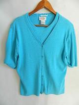Talbots Women's Baby Blue Twin Set Cotton Cardigan & Short Sleeve Sweate... - $27.99