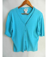 Talbots Women's Baby Blue Twin Set Cotton Cardigan & Short Sleeve Sweate... - $27.99