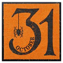 Darice Halloween October 31 Block Sign: MDF/Burlap, 8 x 8 inches w - $10.99