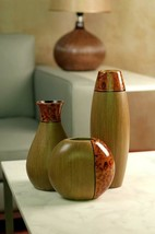 Set of 3 Burlwood Vases Home Office Wedding Spa Table Stylish Decor Idea... - $36.07