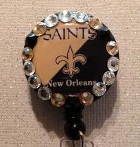 Nfl New Orleans Saints Badge Reel Id Holder gold alligator clip handmade... - $10.99