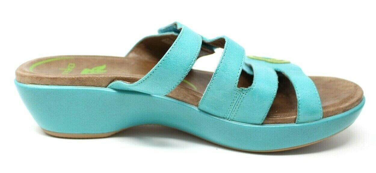 Dansko Women's 38 7.5 8 Turquoise Blue Dixie Sandals Slides Leather Artsy EUC image 5