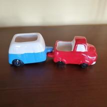 Vehicle Planters, set of 4 ceramic plant pots, RV Camper Blue Red Truck, VanLife image 9