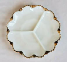"Vintage 10"" Fire King Anchor Hocking Milk Glass Divided Relish Plate w/G... - $11.87"