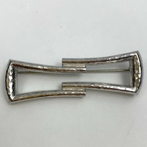 Vintage Monet Hammered Shiny Silver Tone Abstract Bar Brooch Pin Deco Style - $14.80